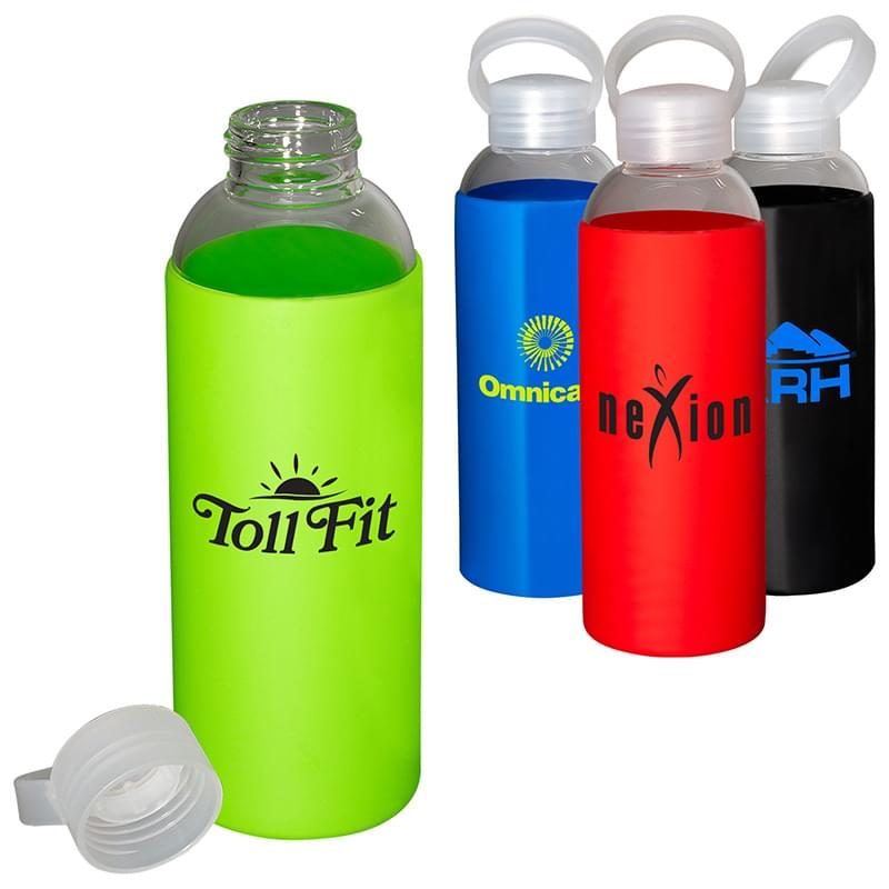 18 oz. Glass Bottle with Color Silicone Sleeve