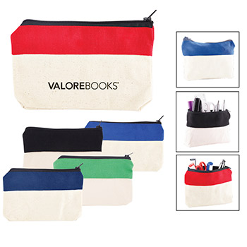 Two-Tone Zip Cotton Valuables/School Supplies Pouch