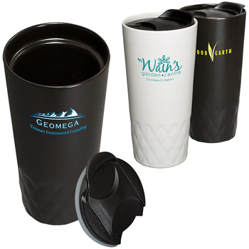 14 oz. Double-Wall Ceramic Textured Tumbler