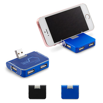4-Port USB Hub with Phone Holder