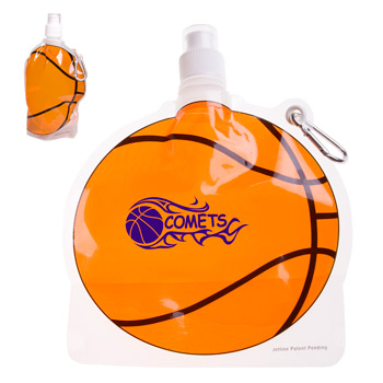 HydroPouch! 24 oz. Basketball Collapsible Water Bottle - Patented