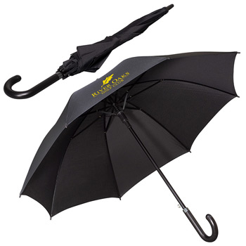 "Leeman™ 48"" Executive Umbrella with Curved Faux Leather Handle"