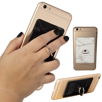 Leeman™ Marble Card Holder with Metal Ring Phone Stand