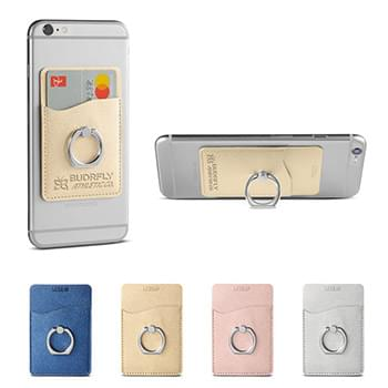 Leeman™ Shimmer Card Holder with Metal Ring Phone Stand