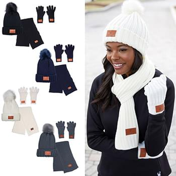 Leeman™ 3 Pc. Rib Knit Fur Pom Winter Set