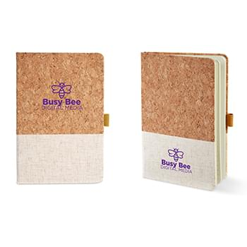 5x7 Hard Cover Cork & Heathered Fabric Journal