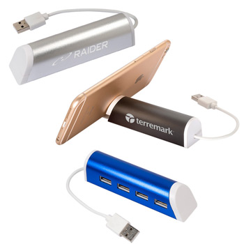 Aluminum 4 Port USB Hub with Phone Stand