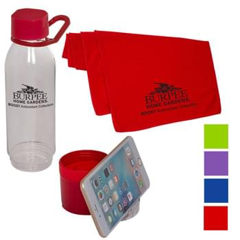 Multifunctional Water Bottle/Phone Stand with Cooling Towel