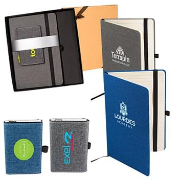 Strand™ Snow Canvas Notebook and Executive Charger Gift Set