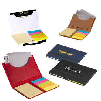 Business Card Sticky Pack with Microfiber Cleaning Cloth