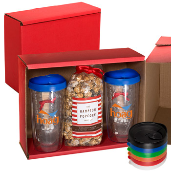 Avalon Clear Tumbler Set with Caramel Popcorn and Hot Chocolate in a Spoon